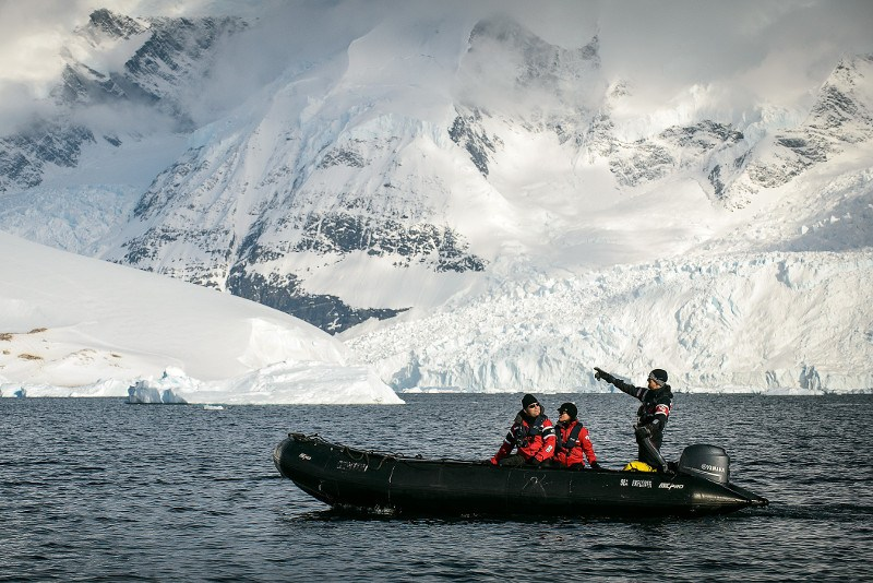 exploring Antarctic Sound in Zodiac