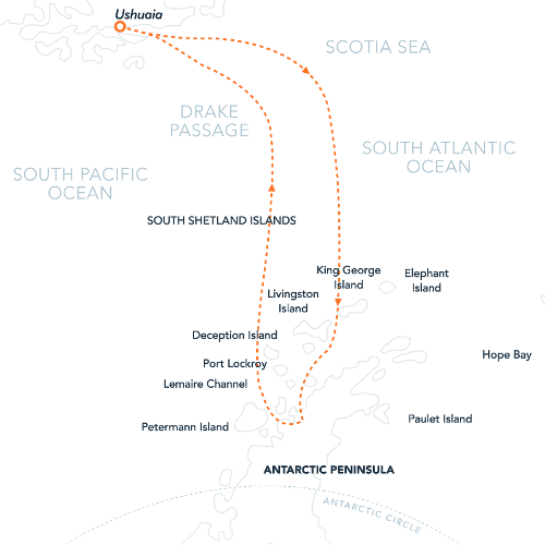 The Antarctic Peninsula cruise map