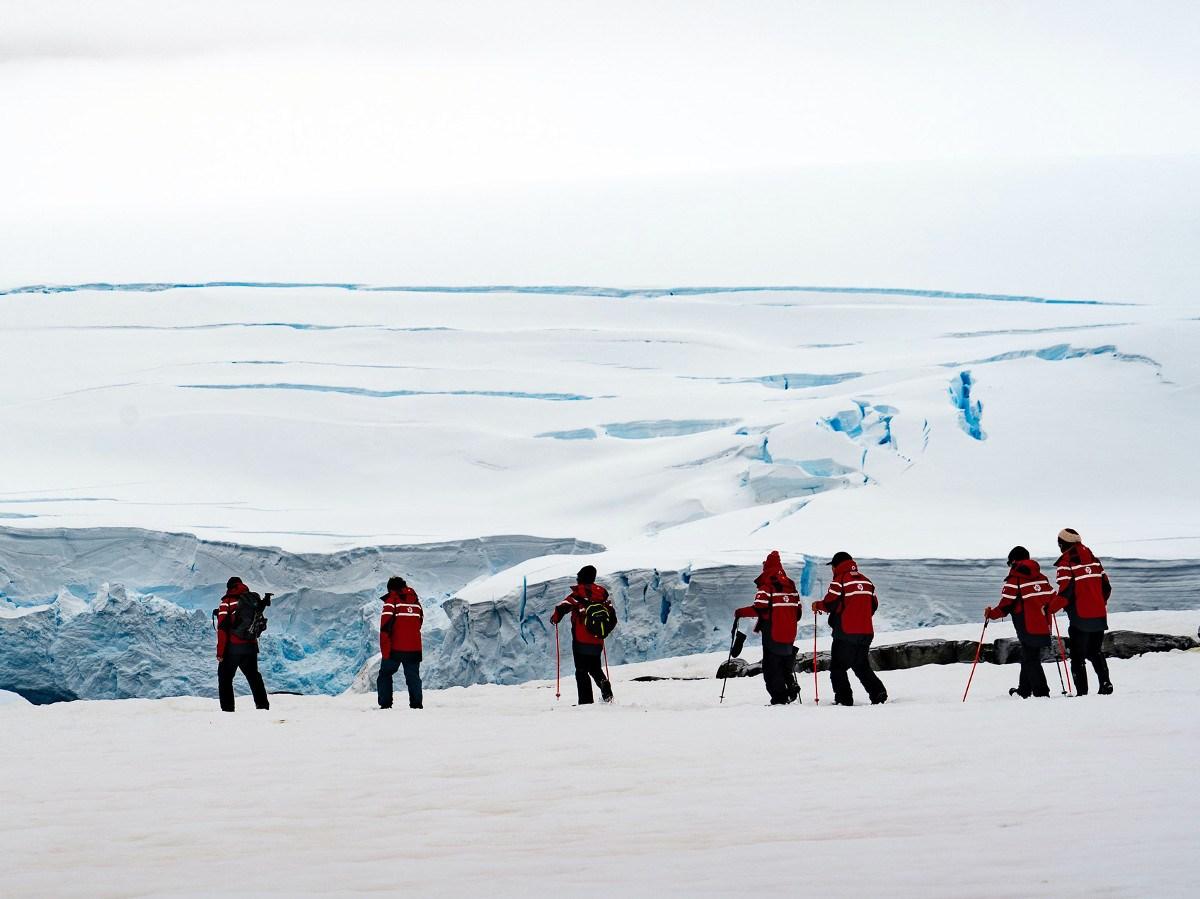 Hikers in Antarctica