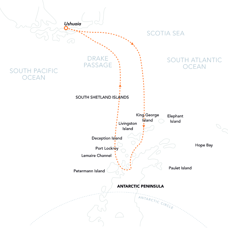 Adventures in Antarctica Route Map