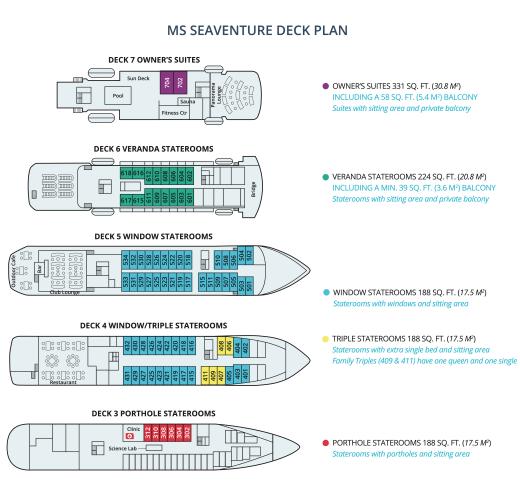 Polar Latitudes MS Seaventure Deck Plan